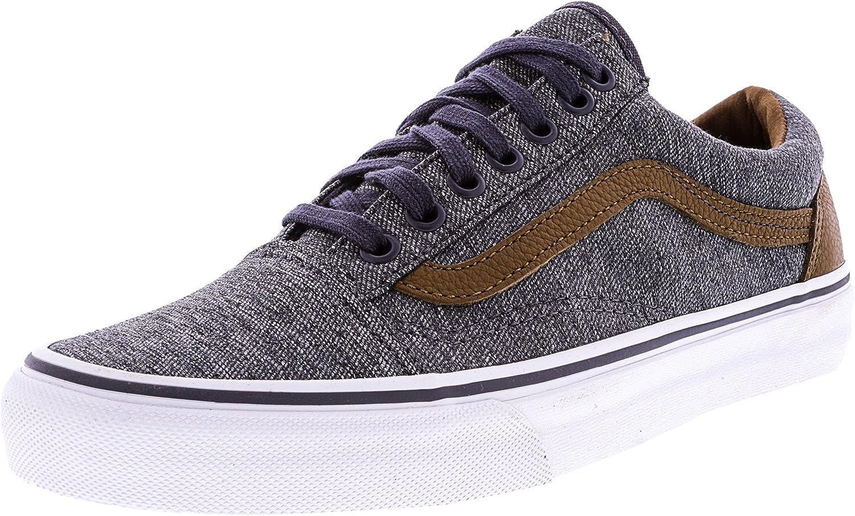 Vans Men's Old Skool Denim/Brown Leather Fashion Sneakers Shoes