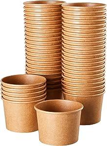 Ice Cream Sundae Cups - 50-Piece Disposable Kraft Paper Dessert Ice Cream Yogurt Bowls Party Supplies, 5-Ounce, Brown