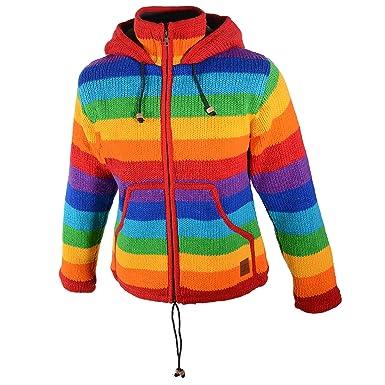 4978b2d0b8e1 Damen Regenbogen Strickjacke Goa Wolle Jacke mit Fleecefutter und  Zipfelkapuze  Amazon.de  Bekleidung