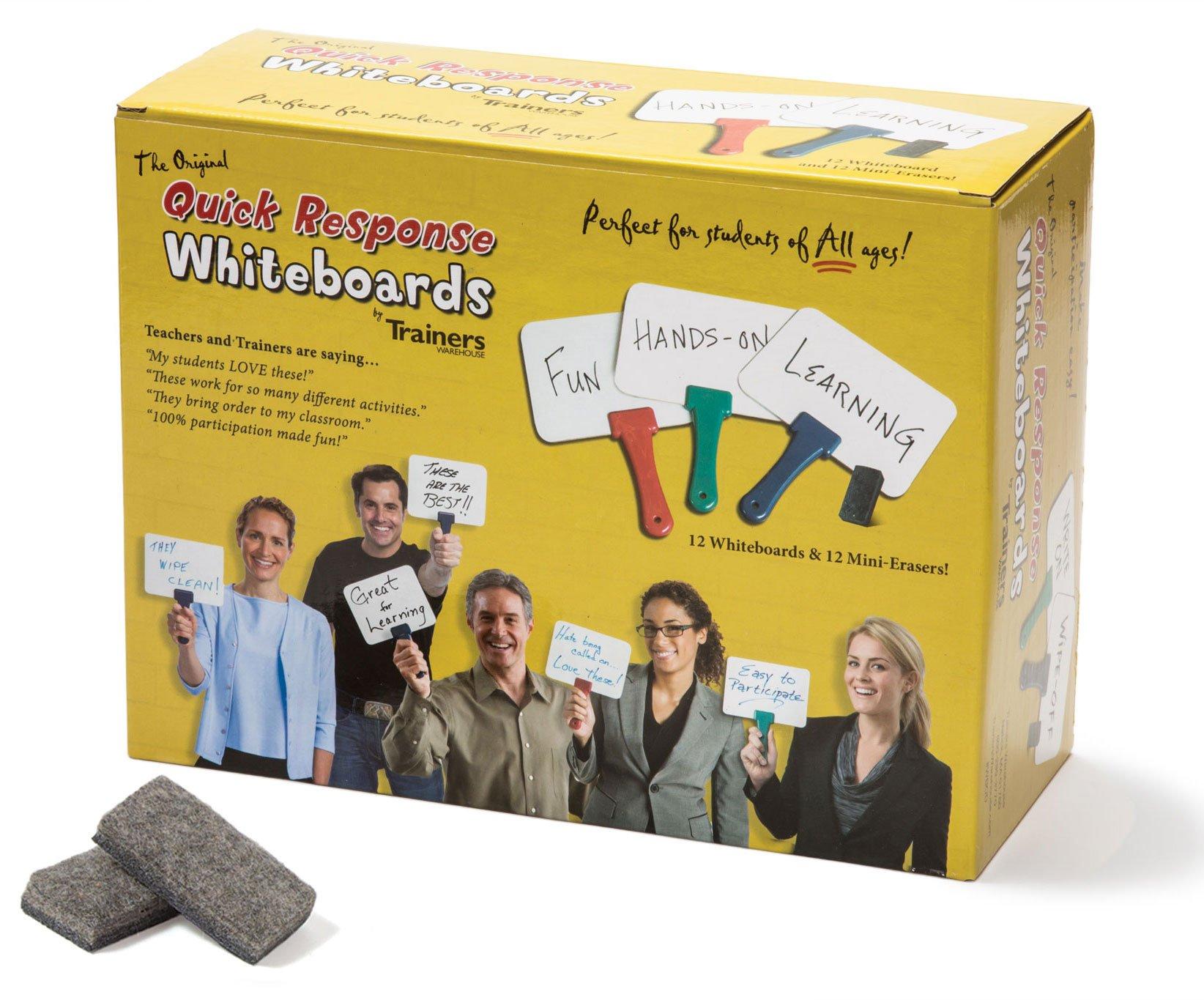 Set of 12 Quick Response Whiteboards w/ Mini Erasers - Classroom Dry Erase Board