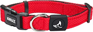 KRUZ PET KZA102-14L Mesh Dog Collar for Small, Medium, Large Dogs, Adjustable Neck Collar, Soft, Lightweight, Breathable, Comfort Fit - Red - Large