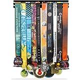 iBobbish Sports Marathon Medal Display Hanger Holder Racks Frame in matt Black Surface Wall Mount Over 40 Medals…