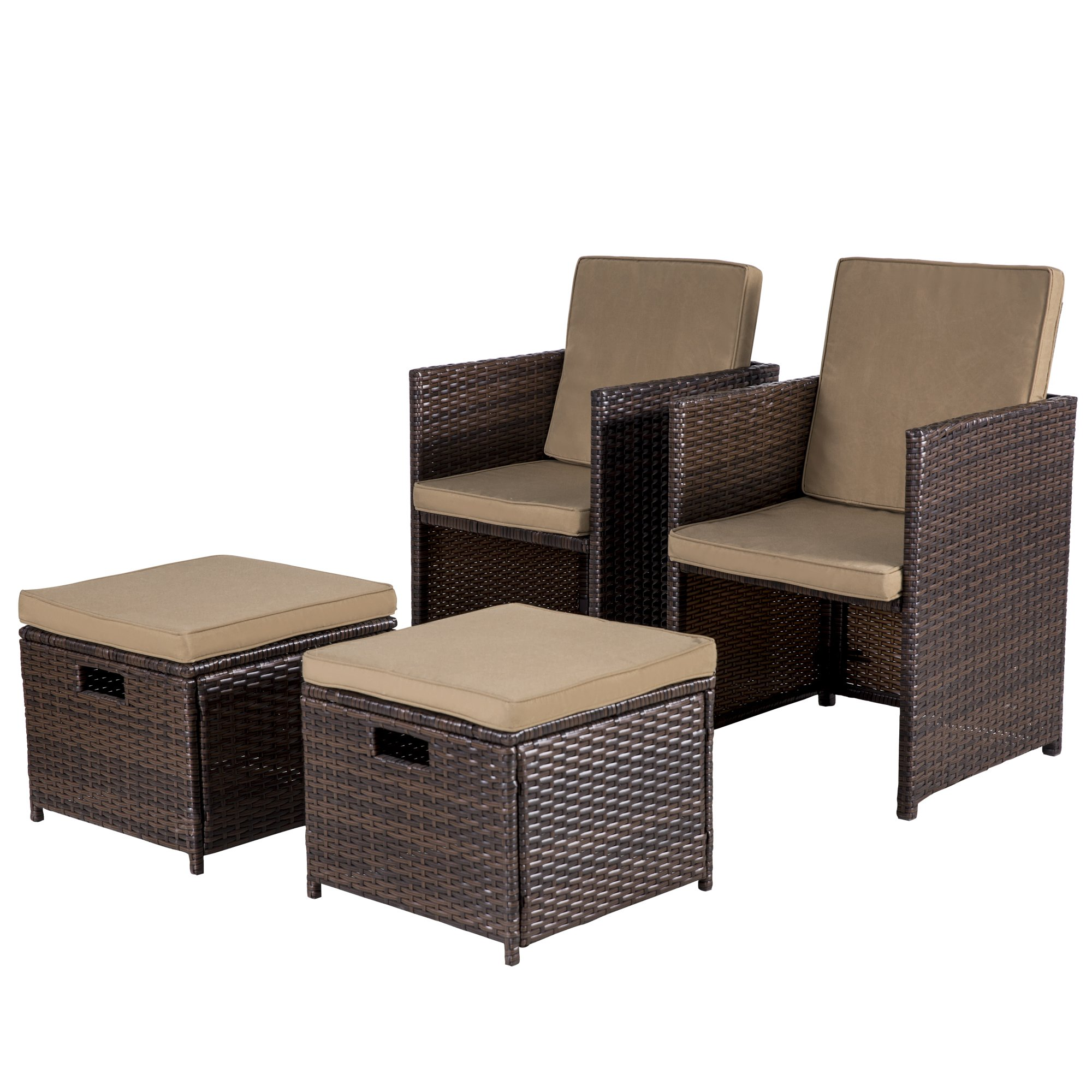 Cloud Mountain Outdoor 5 Piece Rattan Wicker Furniture Bar Set Dining Set Cushioned Patio Furniture Set Space Saving - 1 Patio Dining Table & 4 Conversation Bistro Set, Brown by Cloud Mountain (Image #7)