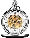 KS KSP007-Orologio da taschino meccanico da uomo, orologio analogico casuale a scheletri numerici romani