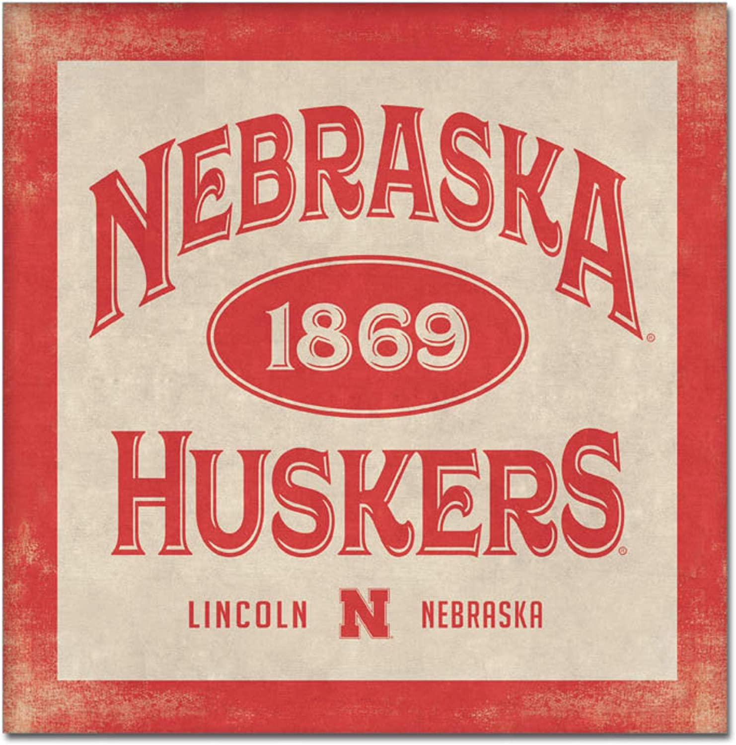 One Size Custom NCAA Legacy Nebraska Cornhuskers Mini Canvas Art 9x9
