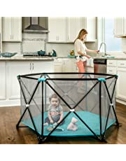 Regalo My Play Portable Playard Indoor and Outdoor with Carry Case and Washable, Aqua, 6-Panel
