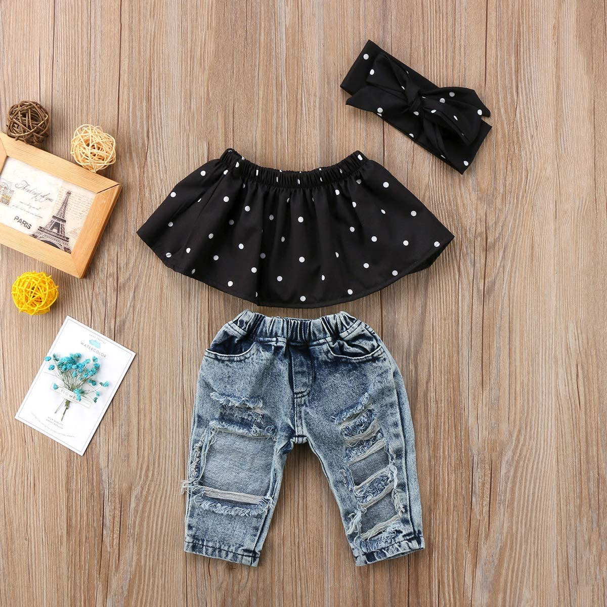Bow Headband 3Pcs Outfits Baby Girl Summer Clothes Infant Toddler Dot Tank Tops Ripped Jean Shorts