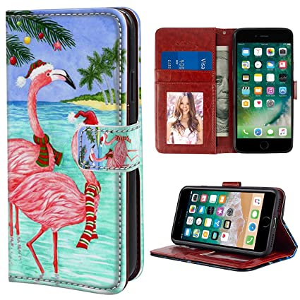 new product 27d8f 690e9 YaoLang iPhone 6/6S Plus Wallet Case, Christmas Pink Flamingo PU Leather  Standable Wallet Phone Case with Card Holder Magnetic Hold for iPhone 6/6S  ...