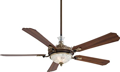 Minka-Aire F900-BCW Downrod Mount, 5 White Blades Ceiling fan with 95 watts light, Belcaro Walnut