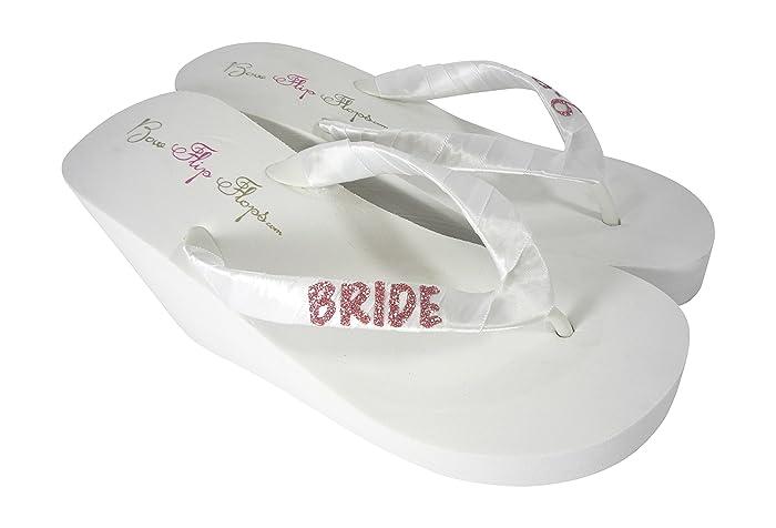 792cda7ce7efc Amazon.com  Rose Gold Glitter Bride Flip Flops  Handmade