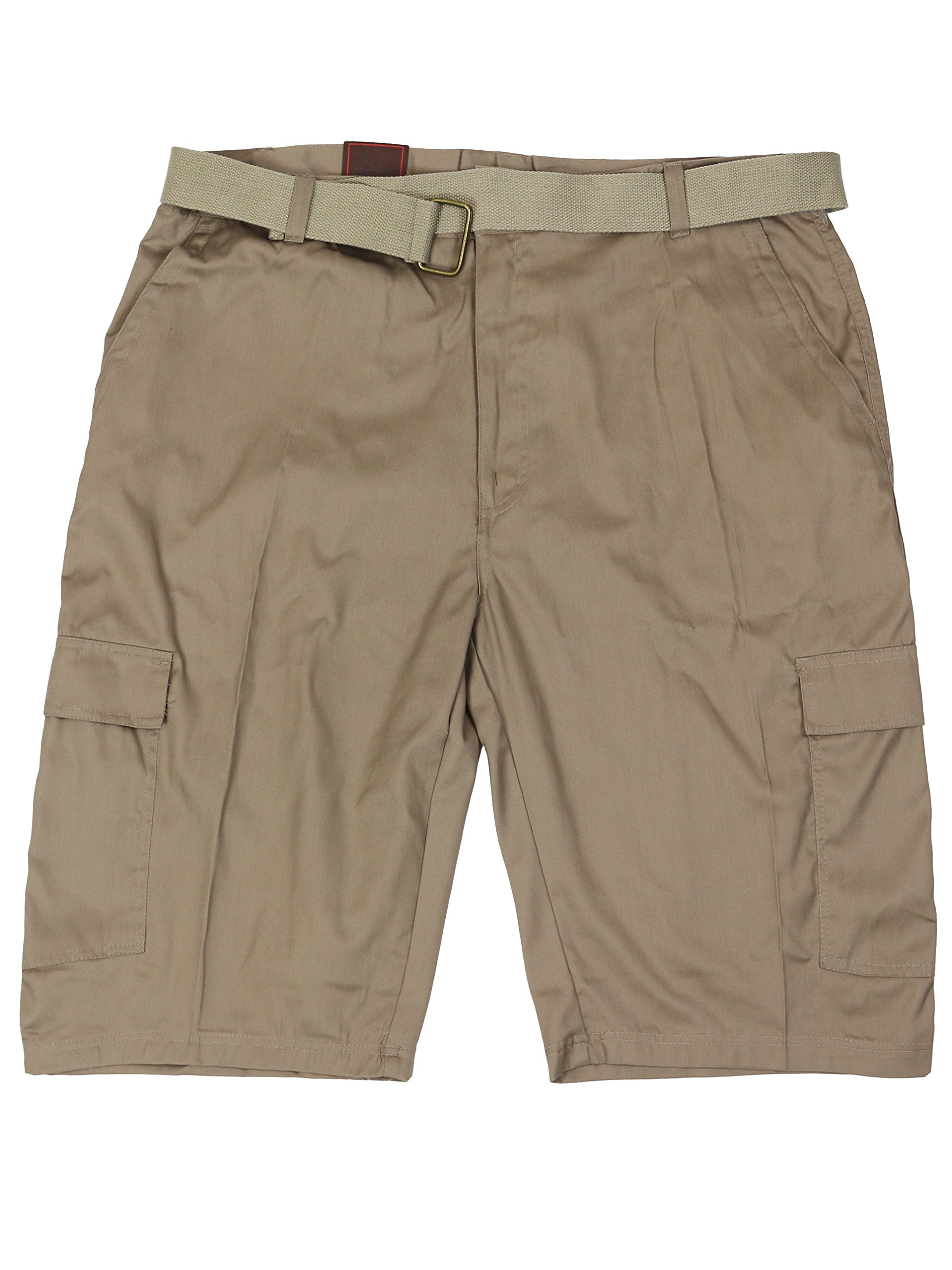 LR Scoop Men's Casual Golf Belted Cargo Dress Shorts Big Plus Sizes (46W, Khaki)