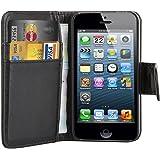 TRIXES Custodia portafoglio in pelle nera per Apple iPhone 4/4S