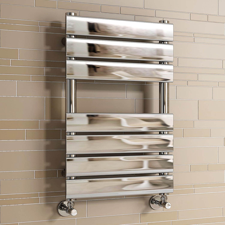 Bathroom heated towel radiators - Ibathuk 650 X 400 Mm Chrome Designer Flat Panel Heated Towel Rail Radiator All Sizes Ibathuk Amazon Co Uk Kitchen Home