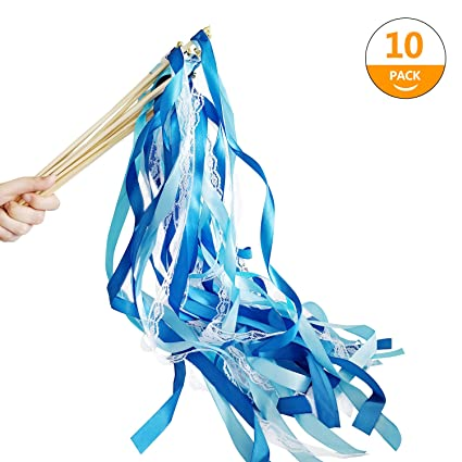 Amazon.com: Hangnuo 10 Pack Wedding Wands Ribbon Streamers with Bell ...