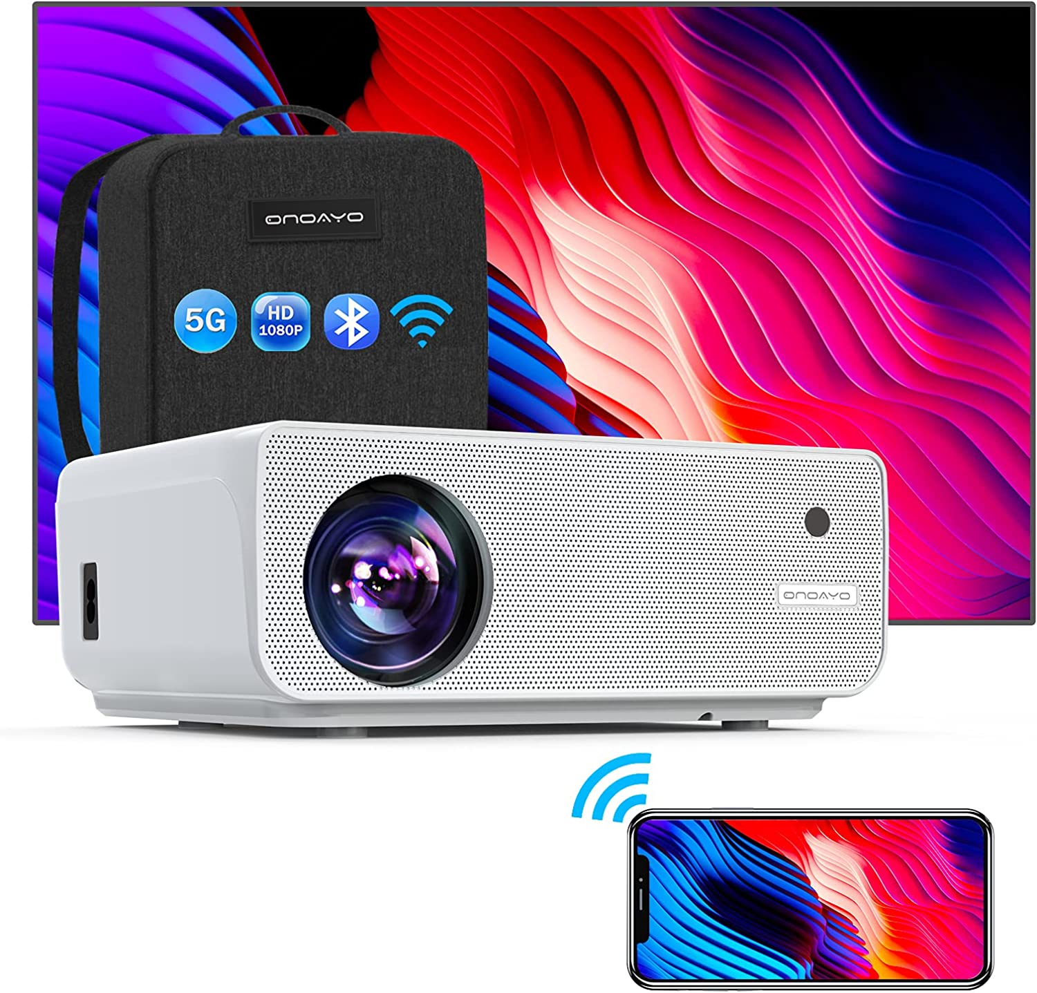 ONOAYO 5G WiFi Projector 9000L Full HD Native 1920×1080P Bluetooth Projector, ±50° 4P/4D Keystone Support 4K&Zoom, Full Sealed Optical/LCD/LED/Home/Outdoor Wireless Portable Projector for Phone,PC,PS4
