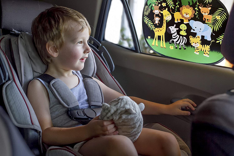 48x31cm | Jungle et Tigres HECKBO/® Pare-Soleil autoadh/ésif Pare-Soleil pour vitres de Voiture Protection Solaire pour Enfants 2 Motifs 2 pi/èces Pare-Soleil Auto y Compris Sacoche