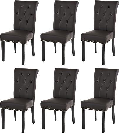 Lot de 6 chaises de Salle à Manger Chesterfield II AV Rivets ~ Similicuir Brun foncé, Pieds foncés