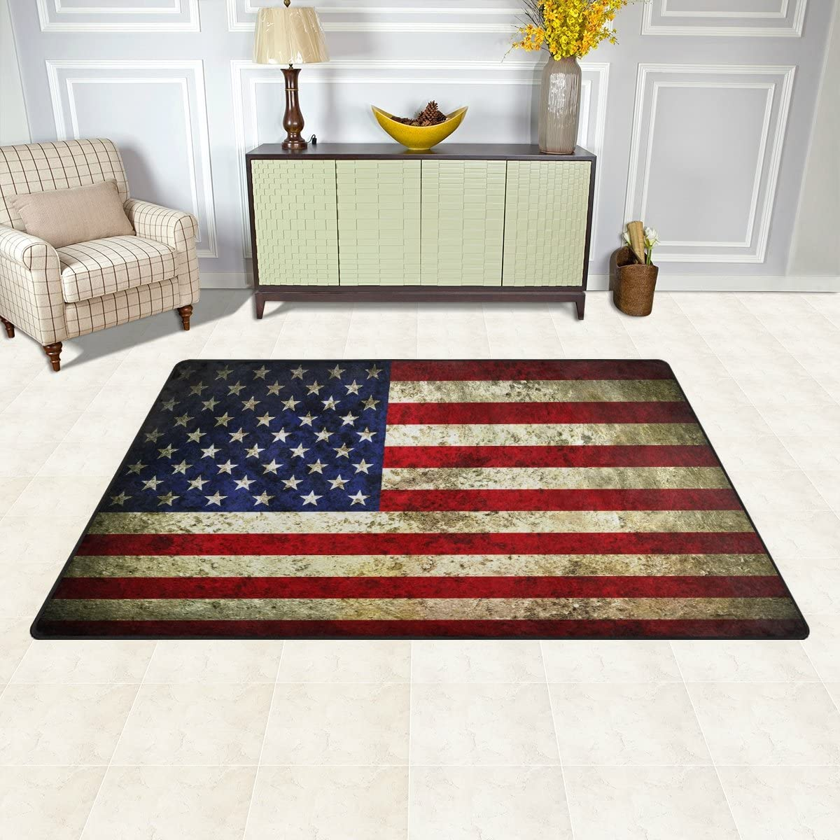 150 x 200 cm 5 x 7 ft Naanle Vintage Retro American Flag Non Slip Area Rug for Living Dinning Room Bedroom Kitchen USA Flag Star and Stripe Nursery Rug Floor Carpet Yoga Mat