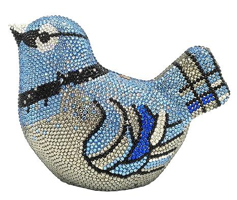 Mujer Bolso Noche Bolsas Fiesta Boda Cartera Brillo Mano Diamantes Cadena Embrague Pájaro Azul