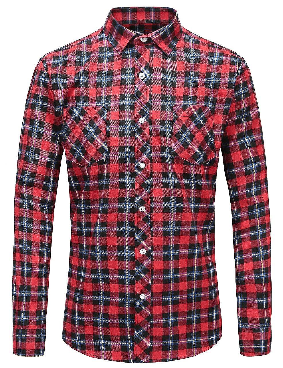 JEETOO Men's Flannel Plaid Checkerd Long Sleeve Button Down Shirts
