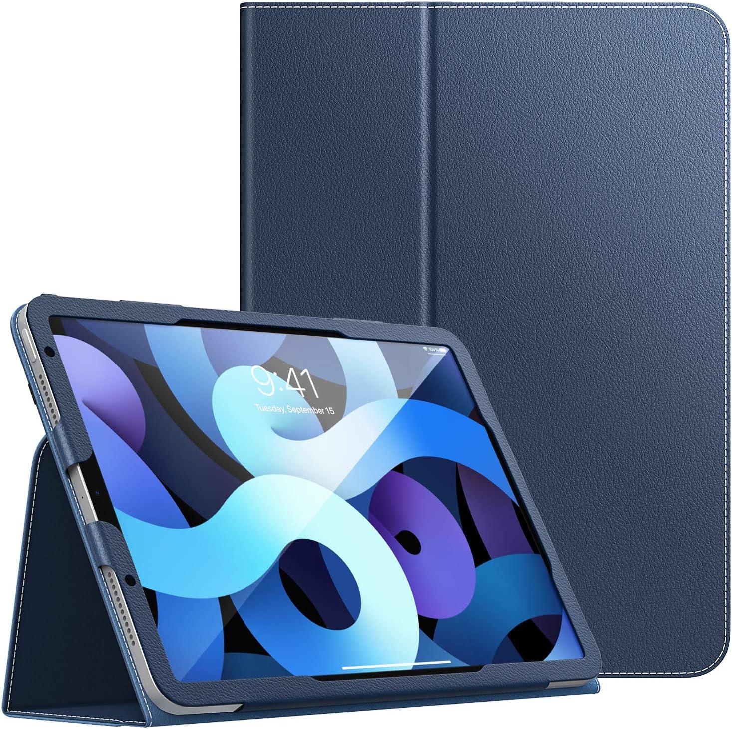 Dadanism Funda Compatible con iPad Air 4 Case iPad 10.9 2020, Suave Protector de PU Cuero con Cierre Magnético Case Cover con Soporte y Correa de Mano Auto-Sueño/Estela, Azul Marino