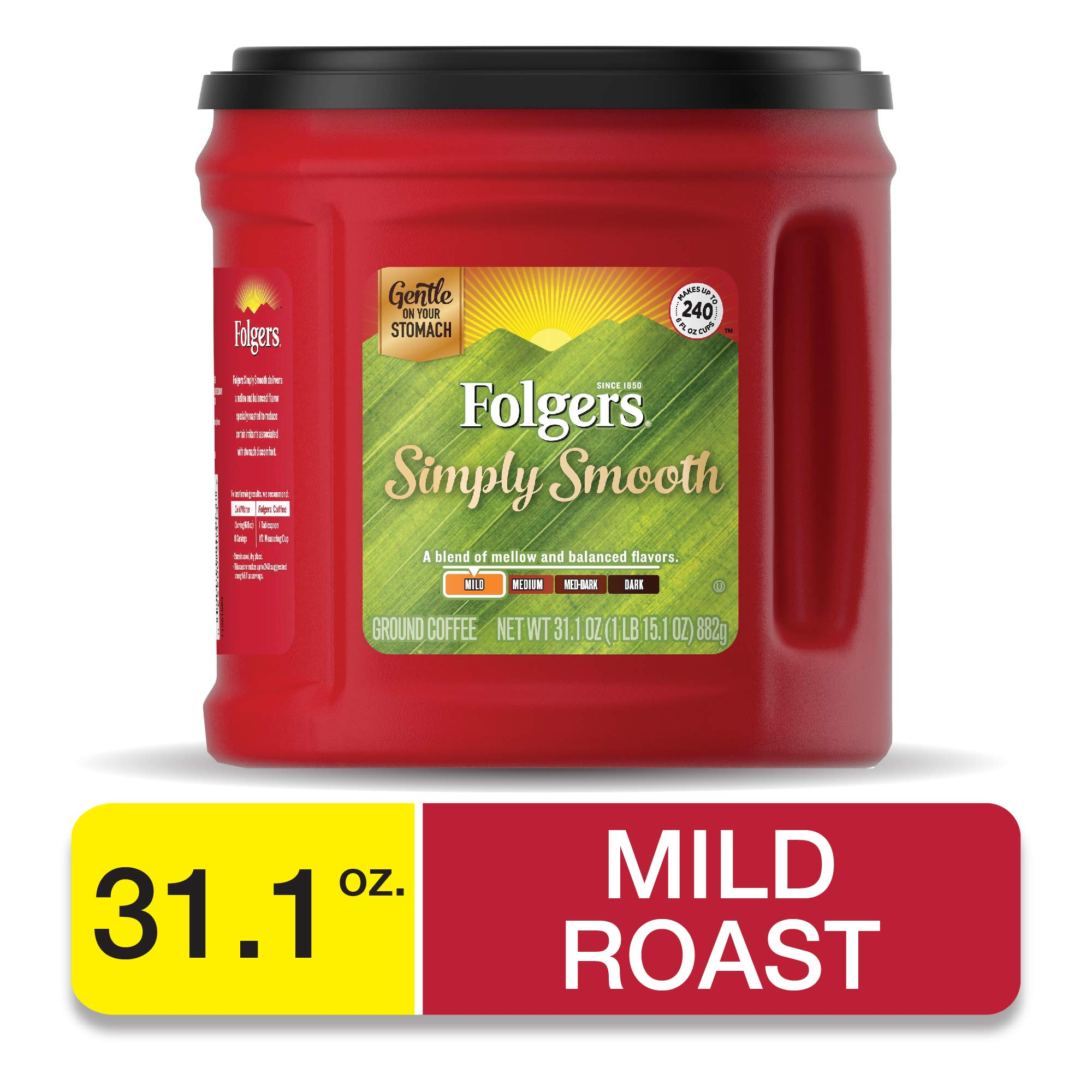 Folgers Simply Smooth Medium Roast Ground Coffee, 31.1 Ounces, Packaging May Vary by Folgers