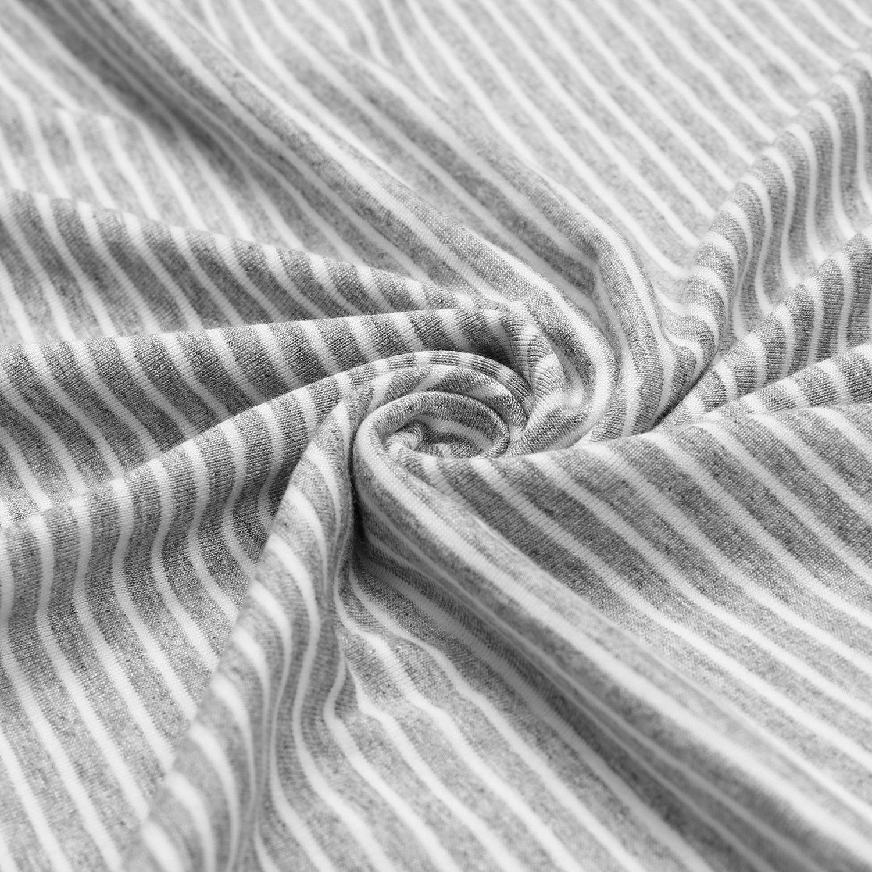 Dance Fairy Molliya Women's Maternity Dress Stripes Nursing Nightgown Breastfeeding,Lapel Collar Pajamas (Gray, M) by Dance Fairy (Image #4)