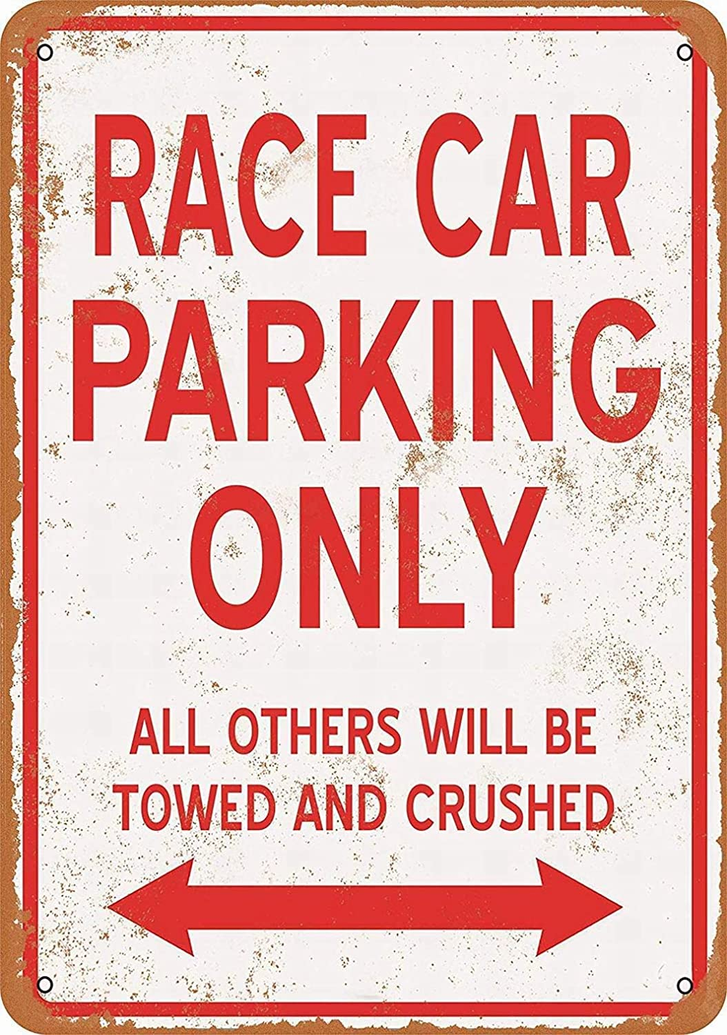 SmartCows Retro Metal Sign 12 x 8 Inches - Race CAR Parking ONLY - Vintage Wall Decor Home Decor