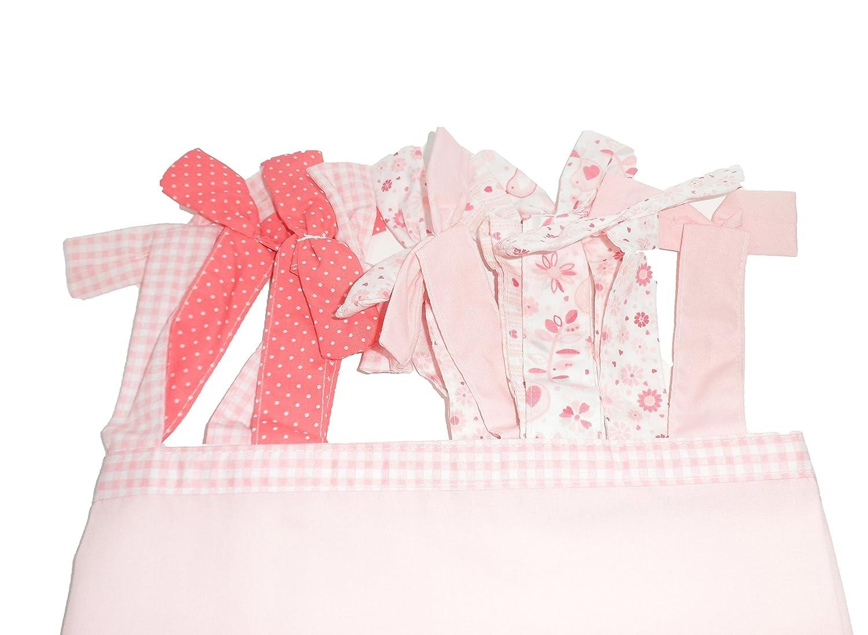Hugs /& Kisses Baby Girls Pink Tie Top Curtains 137 x 137cm