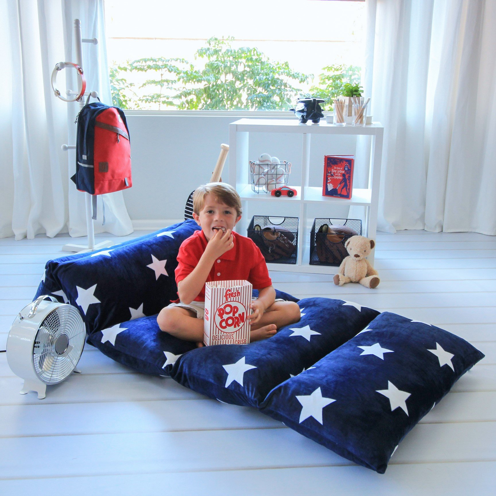 Butterfly Craze Kids Floor Pillow Fold Out Lounger Fabric Cover for Bed and Game Rooms, Reading, Beanbag, Ottoman, Recliner, Chair, Couch Alternative. Blue. Queen Pillows Not Included by Butterfly Craze (Image #8)