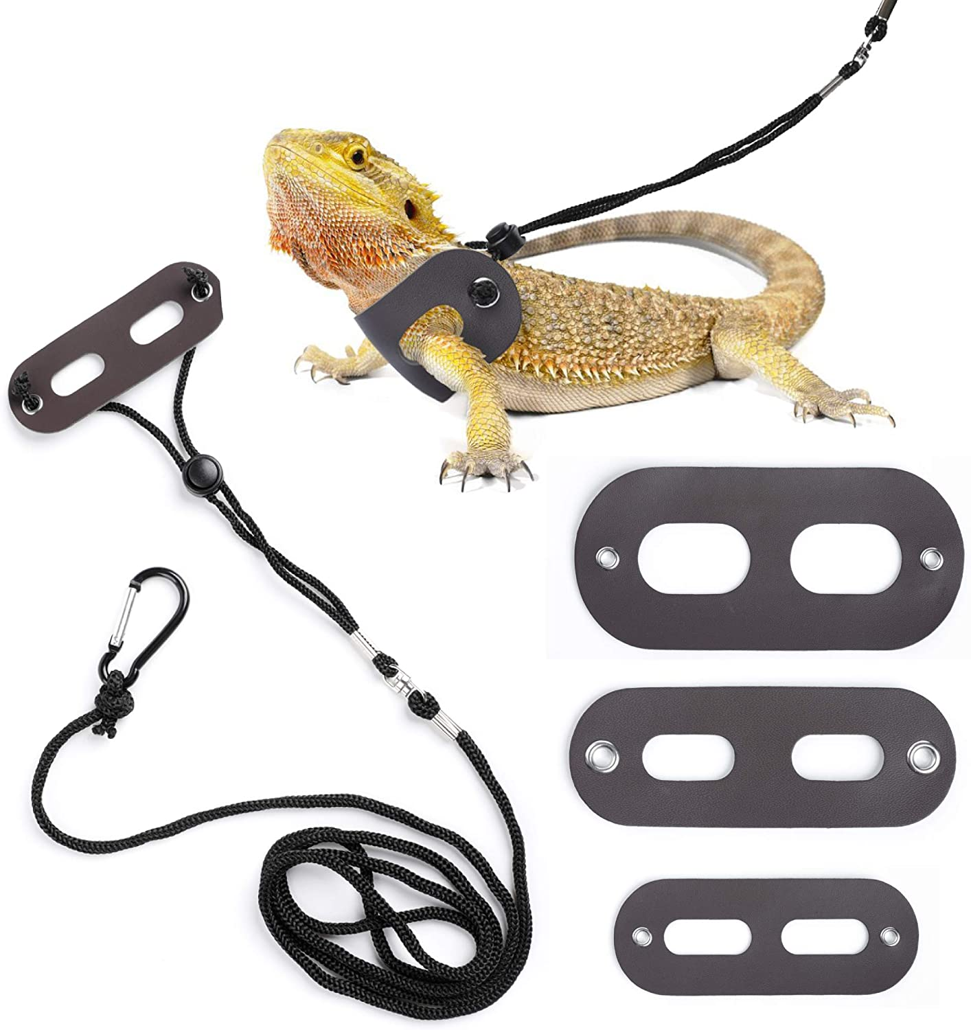 POLKASTORE Bearded Dragon Harness and Leash Adjustable S,M,L, 3 Pack Soft Leather Reptile Lizard Leash for Amphibians and Other Small Pet Animals