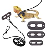 POLKASTORE Bearded Dragon Harness and Leash Adjustable(S,M,L, 3 Pack) - Soft Leather Reptile Lizard Leash for Amphibians and Other Small Pet Animals