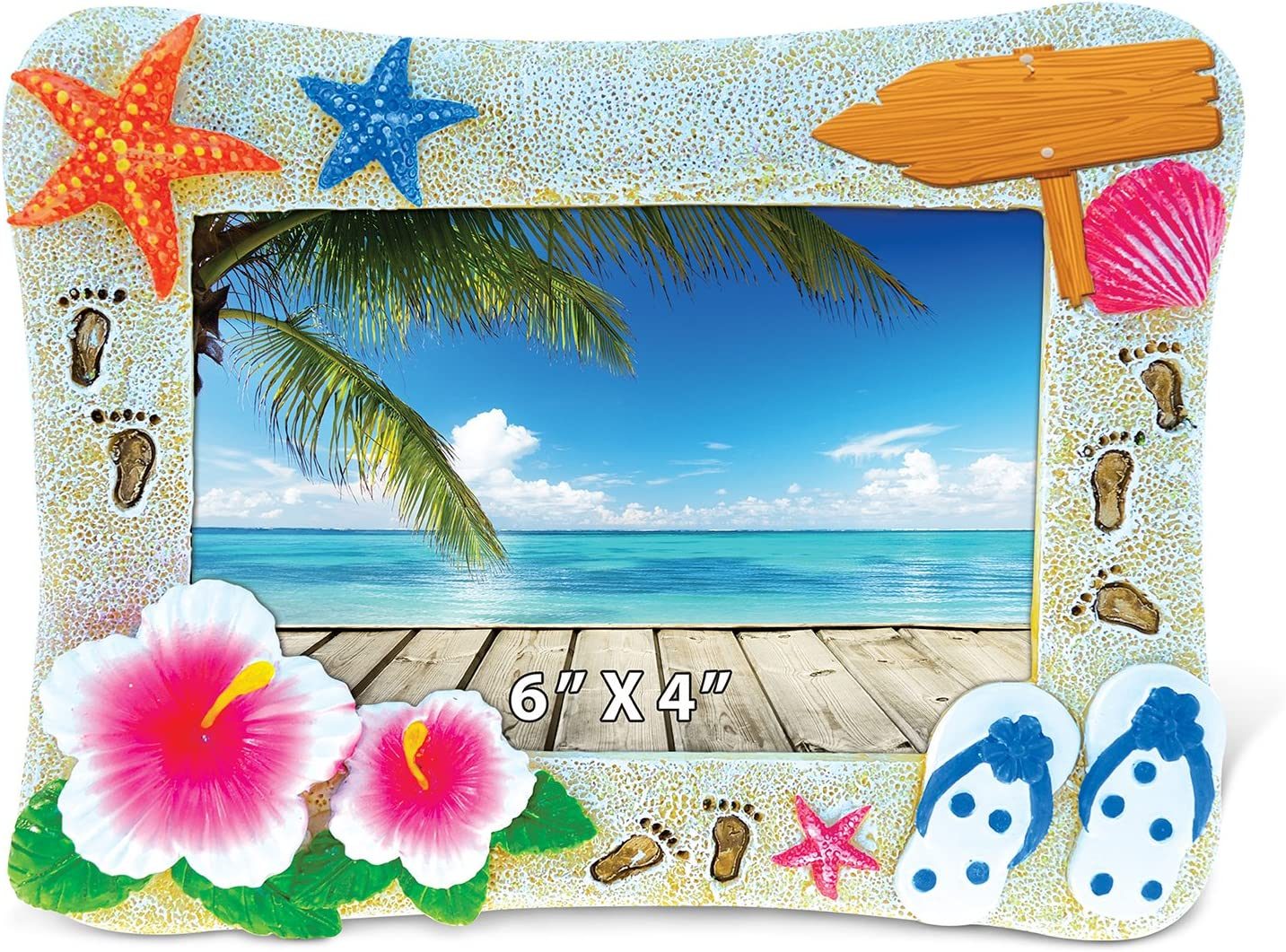 """Puzzled Resin """"Summer Beach"""" Picture Frame, 6 x 4 Inch Sculptural Photo Holder Intricate & Meticulous Detailing Art Handcrafted Tabletop Accent Accessory Coastal Nautical Tropical Themed Home Décor"""