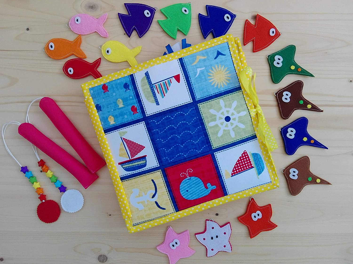 Birthday gift Quiet book Montessori toy Busy book Felt toy Sensory toy for toddlers Magnetic fishing game Felt fishing game