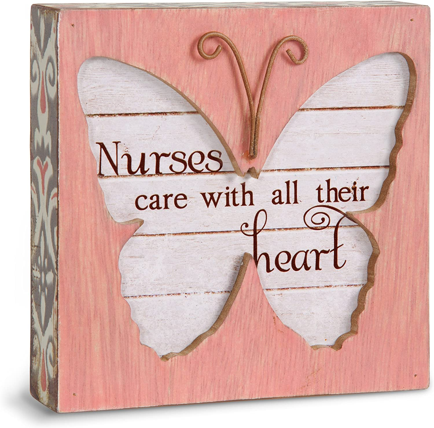 """Pavilion Gift Company Simple Spirits 41092 Nurses Care with All Their Heart Butterfly Plaque, 4-1/2"""""""