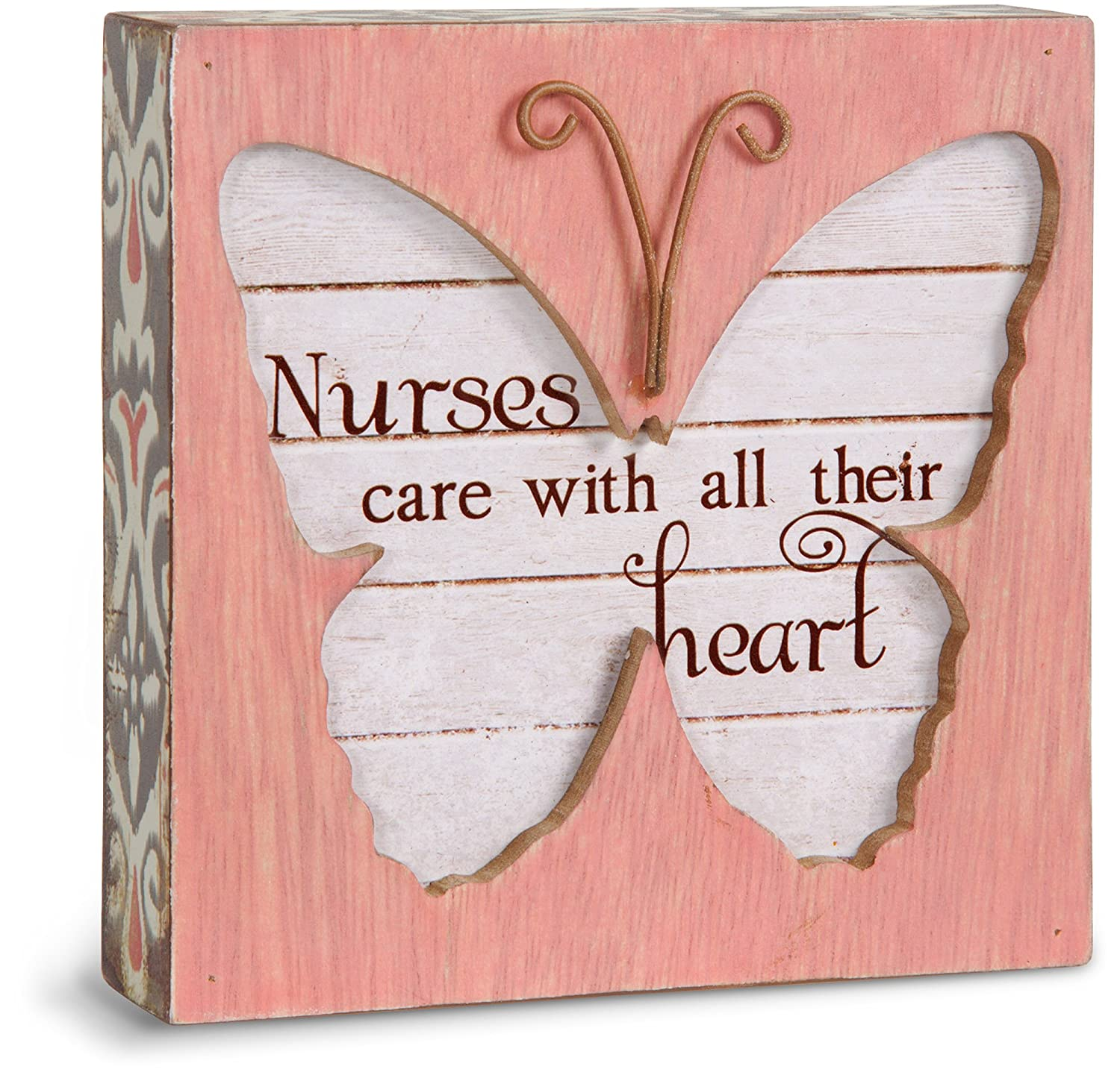 Simple Spirits 41092 Pavilion Gift Company Nurses Care with All Their Heart Butterfly Plaque, 4-1/2-Inch