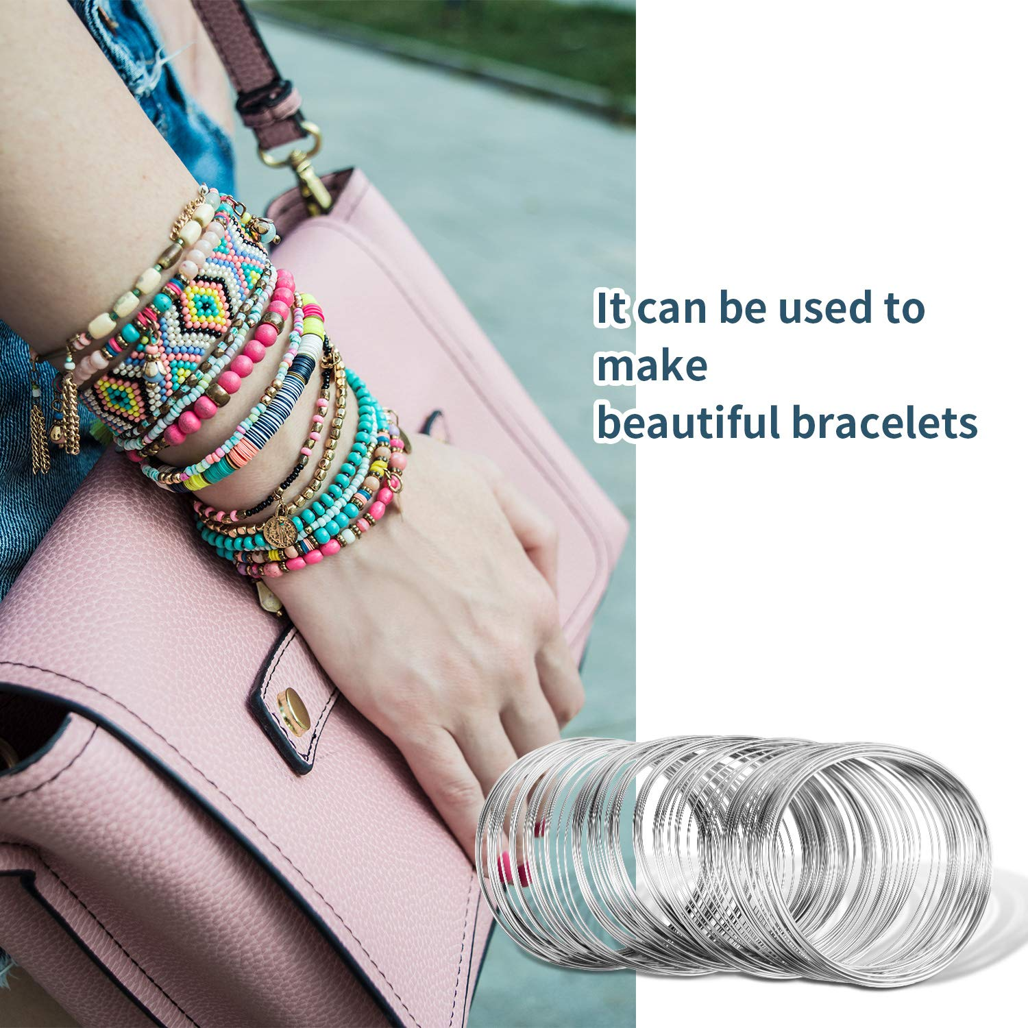 Loop Jewelry Wire Silver Tone Beading Wire Bracelet Memory Wire Cuff Bangle for Wire Wrap Jewelry DIY Making Dark Silver About 400 Pieces