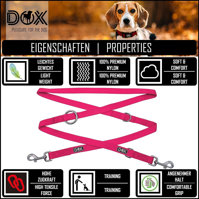 DDOXX Correa Perro Multiposición Nylon, Ajustable en 3 tamaños, 2 m | Muchos Colores & Tamaños | para Perros Pequeño, Mediano y Grande | Correa Accesorios Doble 2 Gato Cachorro | L,