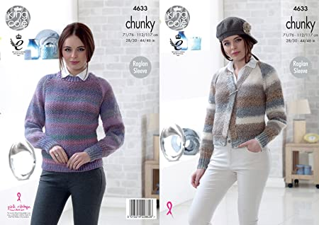 448300693 Image Unavailable. Image not available for. Colour  King Cole 4633 Knitting  Pattern Womens Cardigan and Sweater ...
