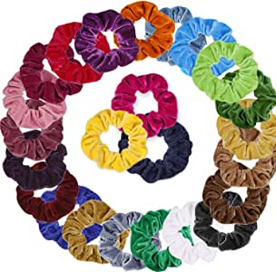 Anezus 24 Pack Hair Scrunchies Velvet Hair Scrunchy Hair Bow Accessories for Adult Women and Girls