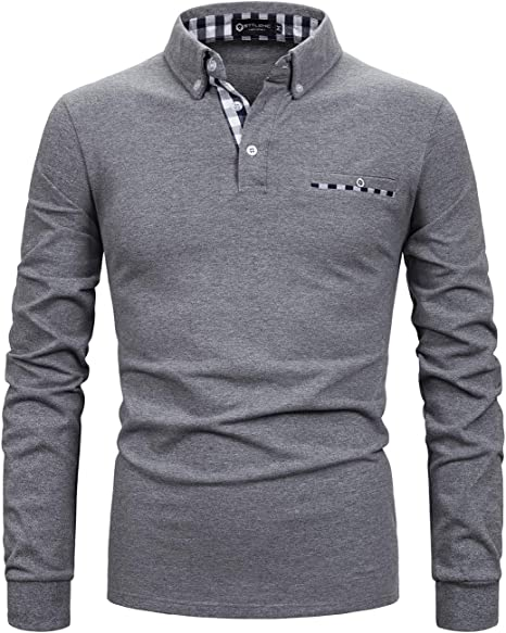 STTLZMC Polo Hombre Mangas Largas Camisetas Clásico Plaid Cuello ...
