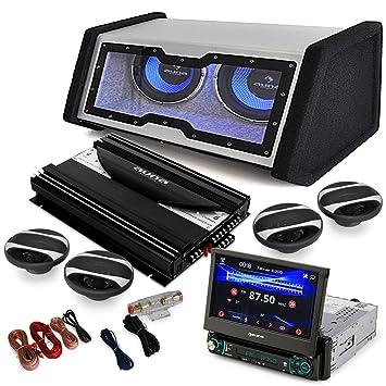 auna MovieMedia 600 4.1 Set Audio HiFi para Coche (autoradio Pantalla táctil, 2X Twin
