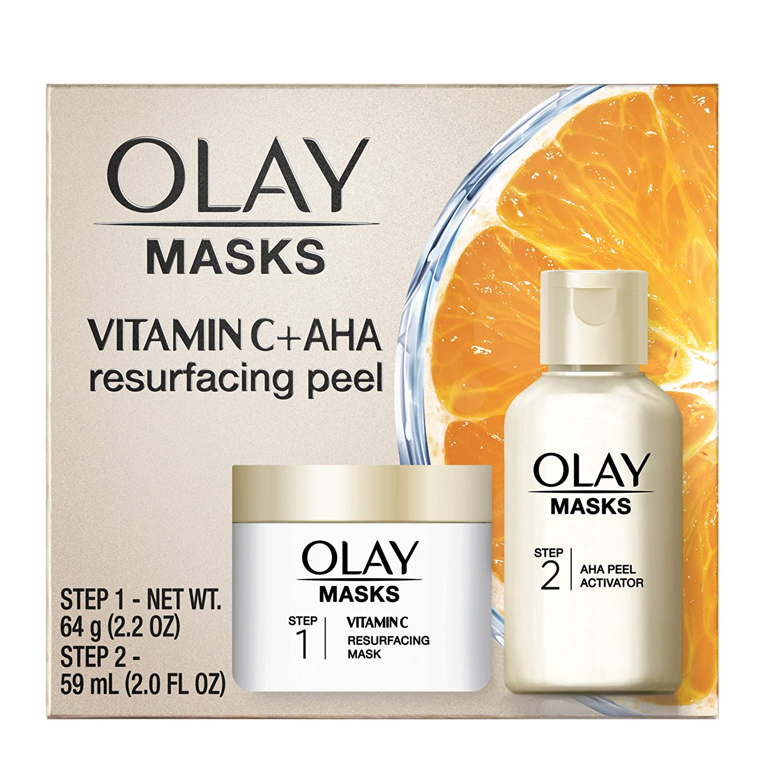 Olay Vitamin C Face Mask Kit, Exfoliator Kit with Mask, Silica, Exfoliating Aha Peel, 0.47 Fl Oz