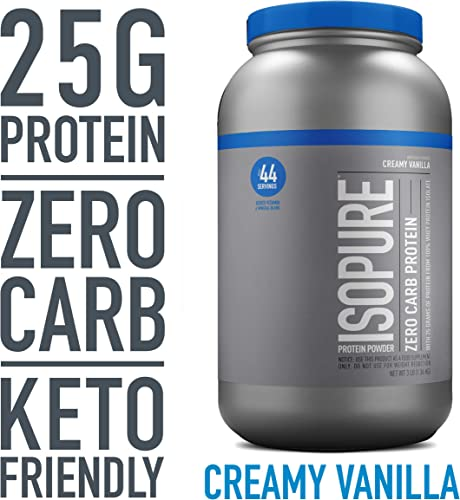 Isopure Zero Carb, Vitamin C and Zinc for Immune Support, 25g Protein, Keto Friendly Protein Powder, 100 Whey Protein Isolate, Flavor Creamy Vanilla, 3 Pounds Packaging May Vary