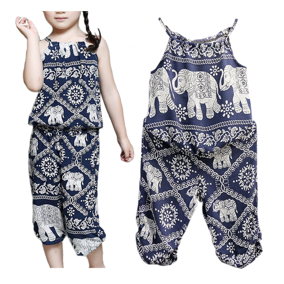 Ponce Fashion Baby Kid Girl Elephant Strap Vest with Floral Print Pant Jumpsuit 2Pcs Set