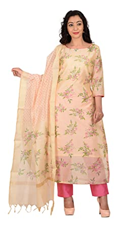 0dd2c41393 Aaditri Clothing Women's Unstitched Floral Print Chanderi Dress ...