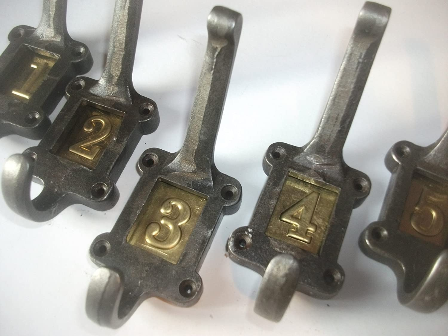 5 X CAST IRON SCHOOL COAT HOOKS BRASS No's Vintage ANTIQUE shabby chic look -Alsop's Allsorts