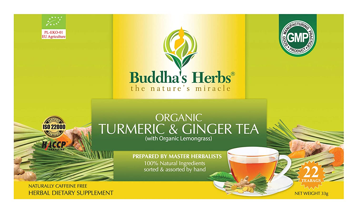 Buddha's Herbs Organic Turmeric, Ginger and Lemongrass Tea - Natural Immunity and Inflammation Support -22 Tea Bags