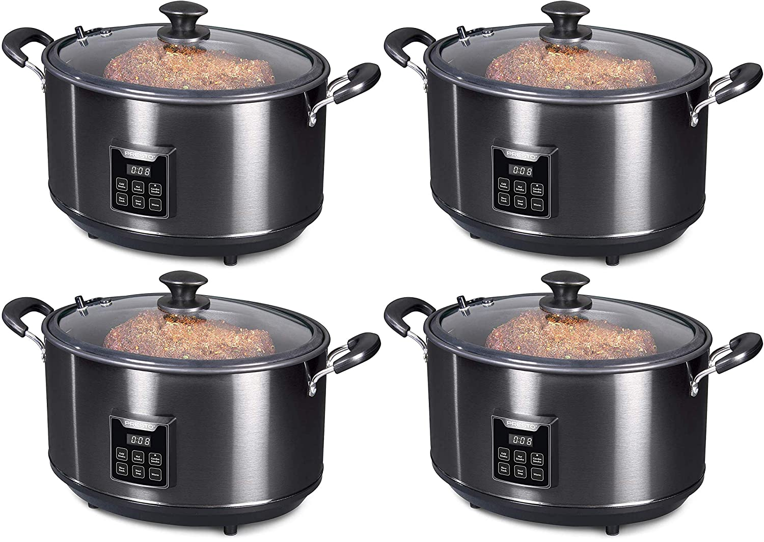 Presto 06013 Electric Indoor Smoker, 6qt, Black Stainless Steel 4-PACK
