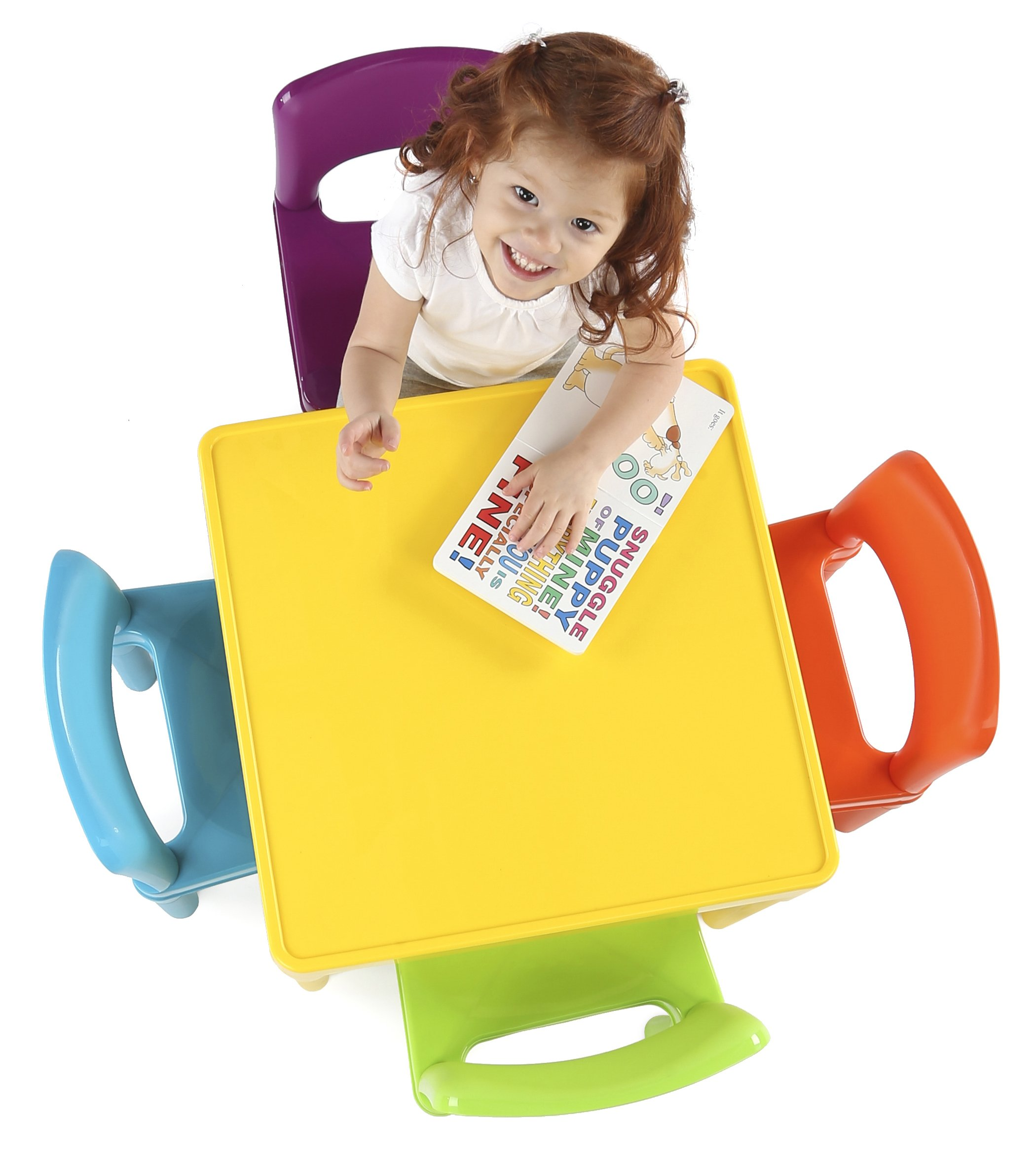 Tot Tutors Kids Plastic Table And 4 Chairs Set Vibrant